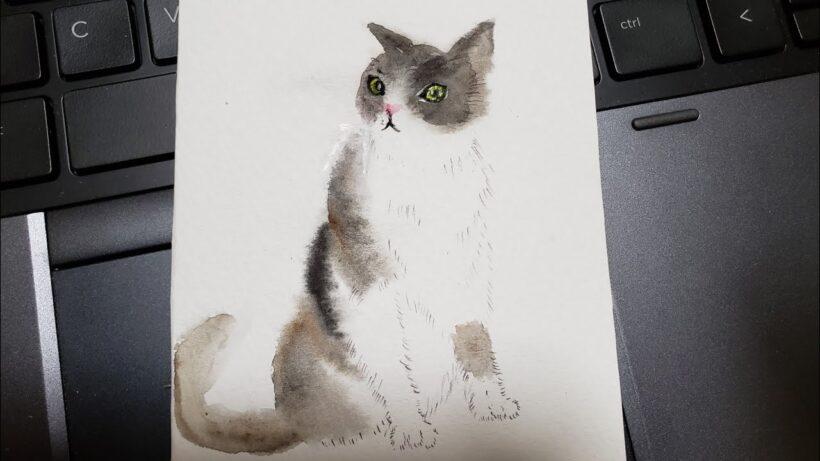 Cách vẽ mèo đơn giản bằng màu nước