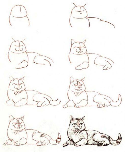Cách vẽ mèo đơn giản đang nằm