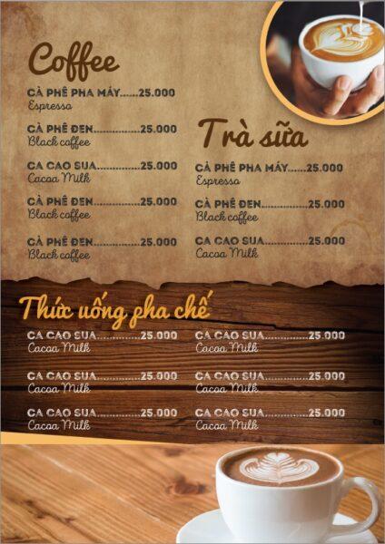 Hình ảnh đẹp về mẫu menu cafe