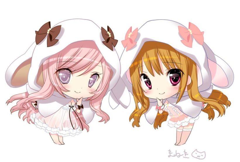 Hình ảnh đôi bạn thân anime chibi đẹp