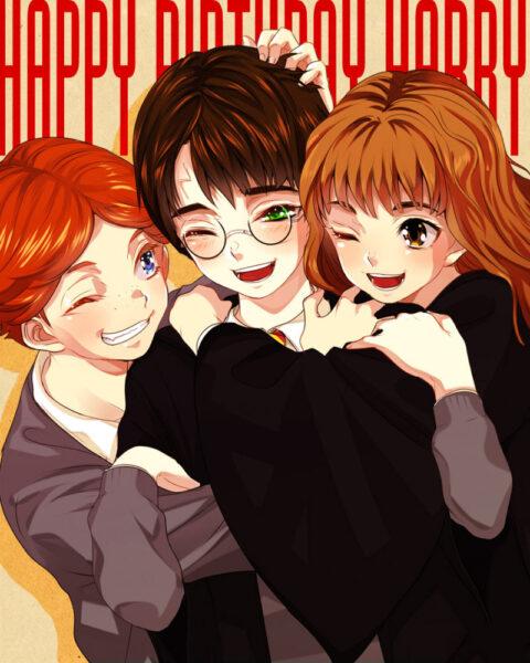 Hình ảnh Hary Potter và bạn bè anime