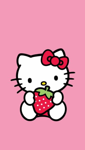Hình ảnh Hello Kitty cầm quả dâu tây