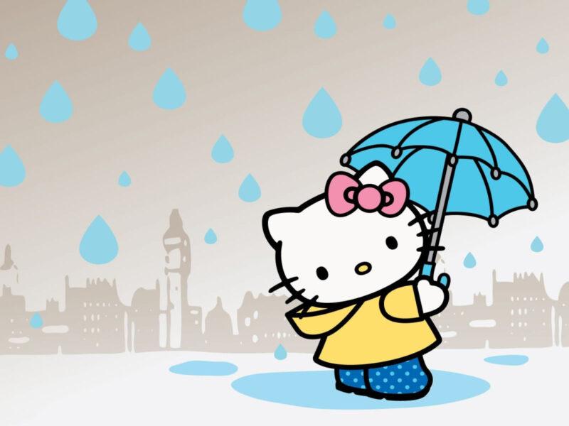 Hình ảnh Hello Kitty đi dưới mưa