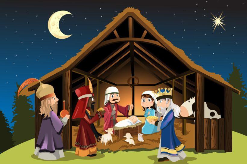Hình ảnh hoạt hình hang đá Giáng Sinh