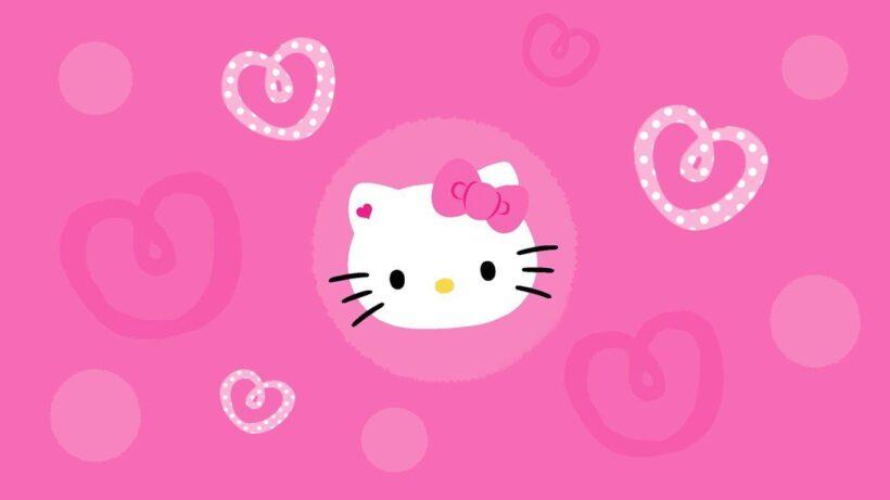 Hình nền màu hồng Hello Kitty