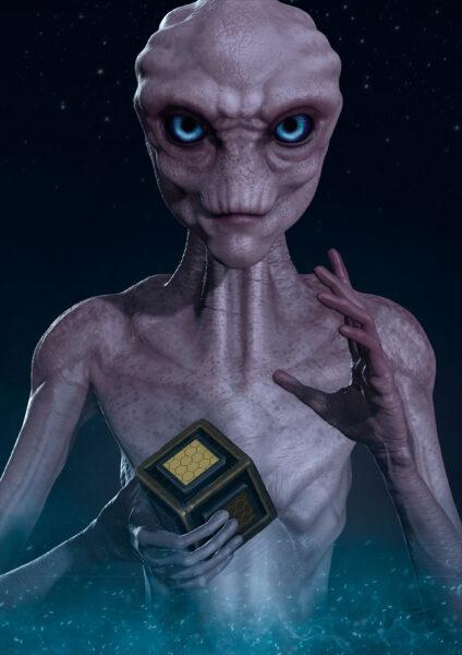 Hình người ngoài hành tinh có đôi mắt xanh