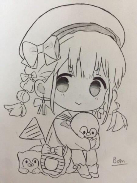 Hình vẽ anime chibi girl