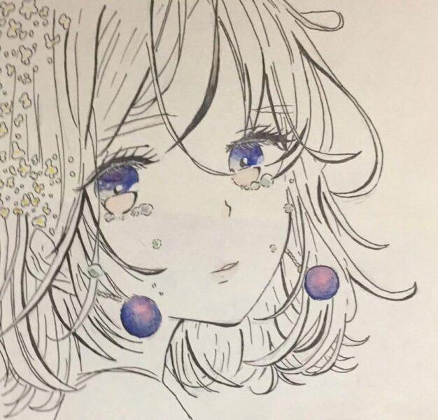 Hình vẽ anime nữ buồn khóc