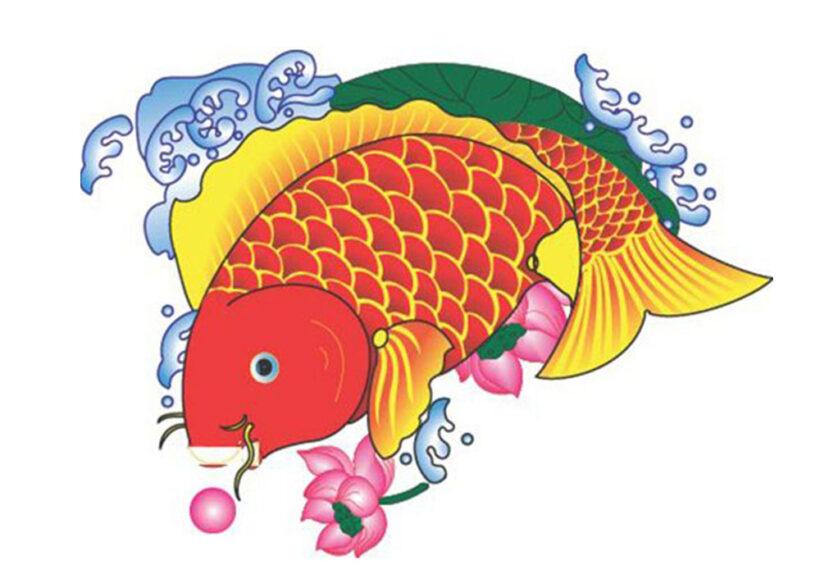 Hình vẽ Cá Chép vàng và hoa Sen
