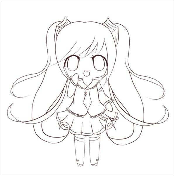 Hình vẽ đơn giản anime Chibi cho bé tô màu