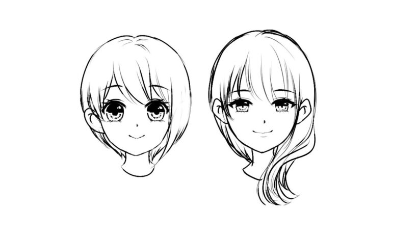 Hình vẽ khuôn mặt anime nữ