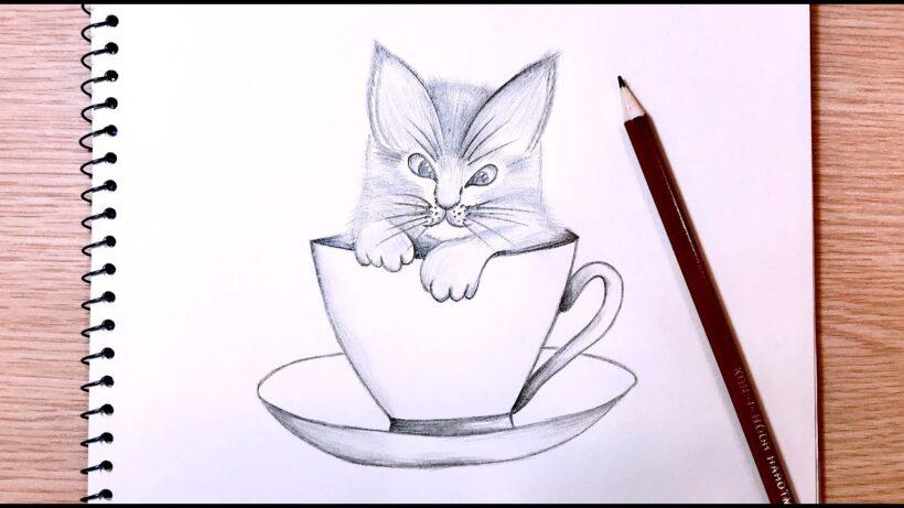 Hình vẽ mèo con dễ thương
