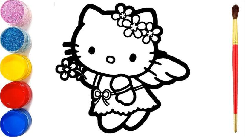 Hình vẽ tô màu Hello Kitty