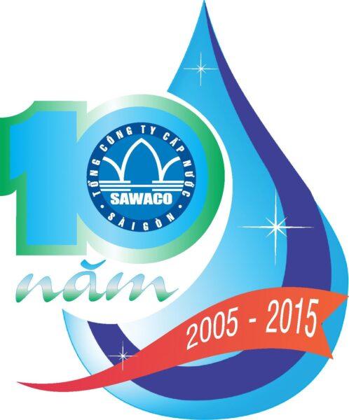 Mẫu logo kỉ niệm 10 năm tổng công ty cấp nước đẹp