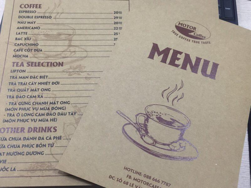 Mẫu menu cafe bằng bìa giấy đơn giản đẹp