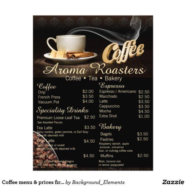 Mẫu menu cafe bằng tiếng Anh