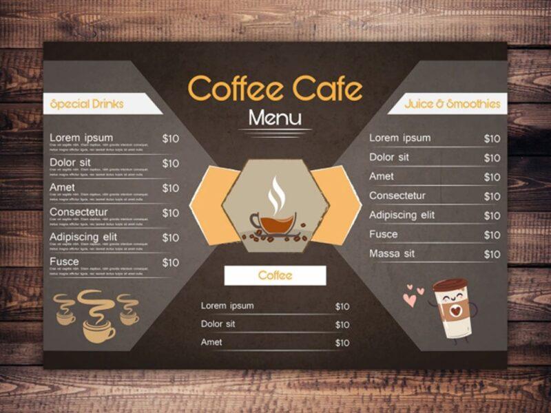 Mẫu menu cafe đẹp cho quán