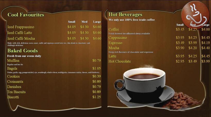 Mẫu menu cafe đẹp nhất