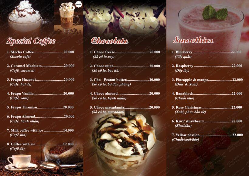 Mẫu menu cafe độc đáo