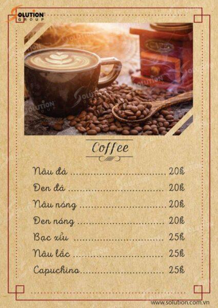Mẫu menu cafe đơn giản, đẹp mắt