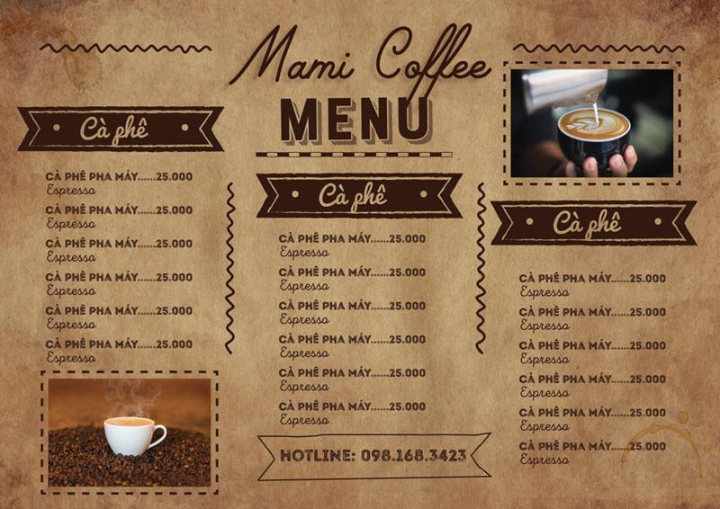 Mẫu menu cafe đơn giản và đẹp nhất