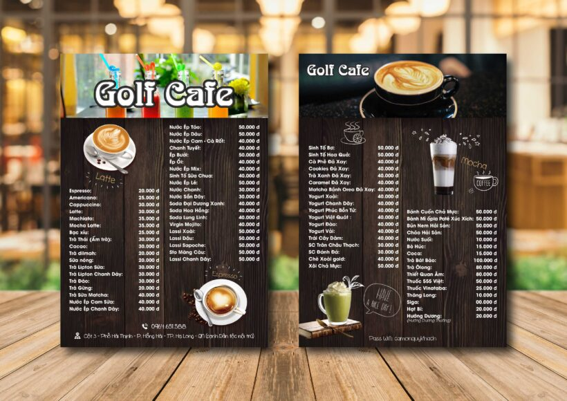 Mẫu menu quán cafe cực đẹp