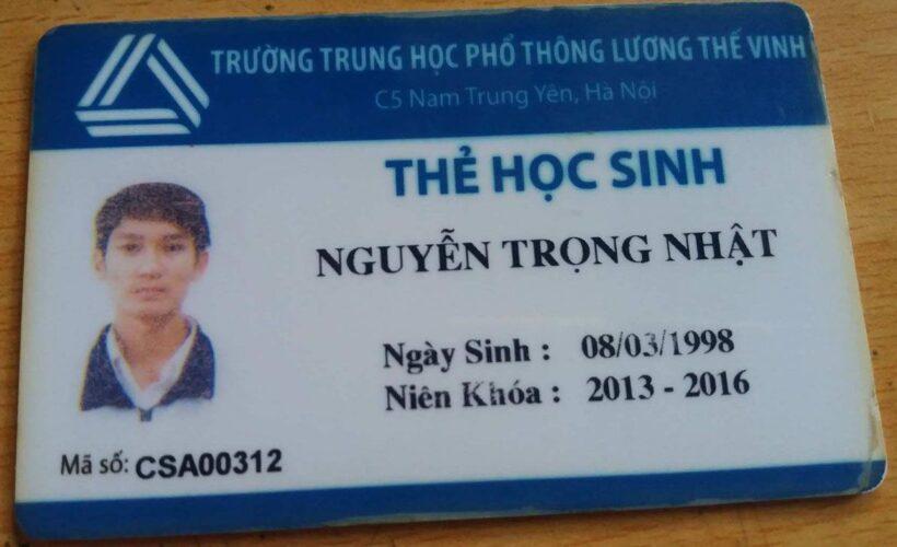 Mẫu thẻ học sinh đẹp THPT Lương Thế Vinh