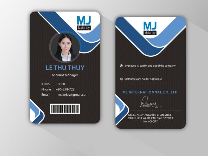 Mẫu thẻ nhân viên dọc đẹp