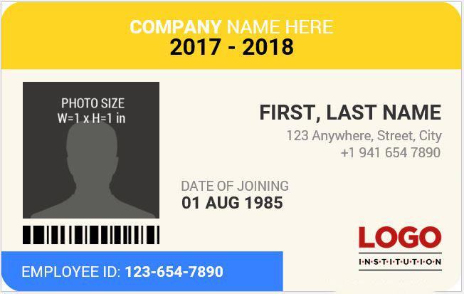 Mẫu thẻ nhân viên văn phòng