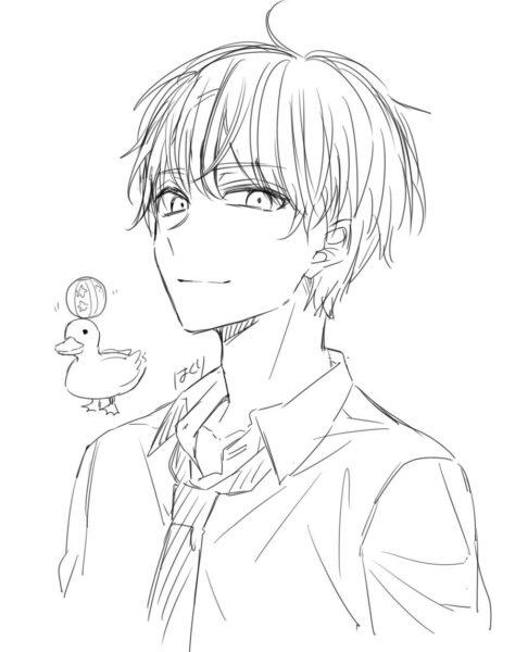 Tranh vẽ anime boy dễ thương