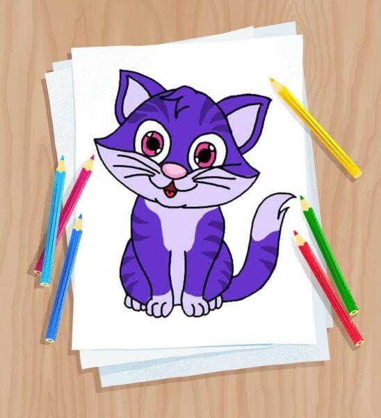 Tranh vẽ mèo dễ thương