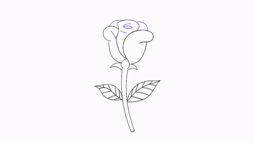 Vẽ các đường cong ở phía trên tạo thành cánh hoa hoàn chỉnh