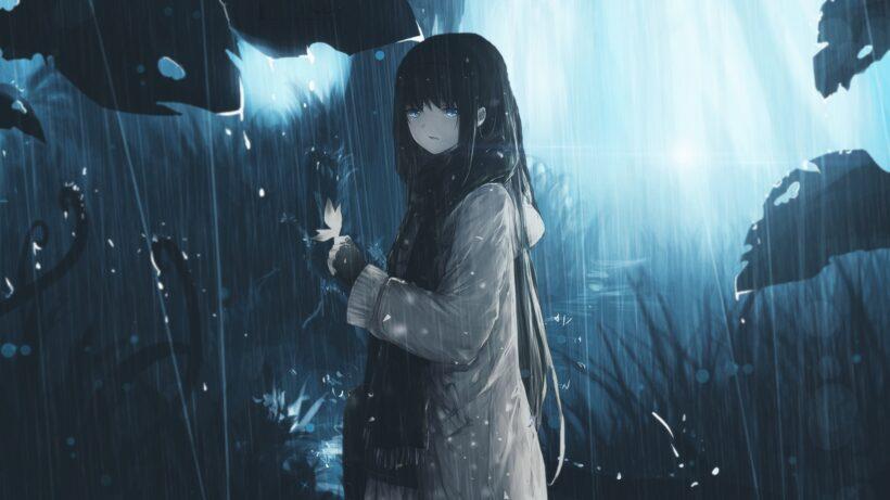 background anime buồn dưới mưa