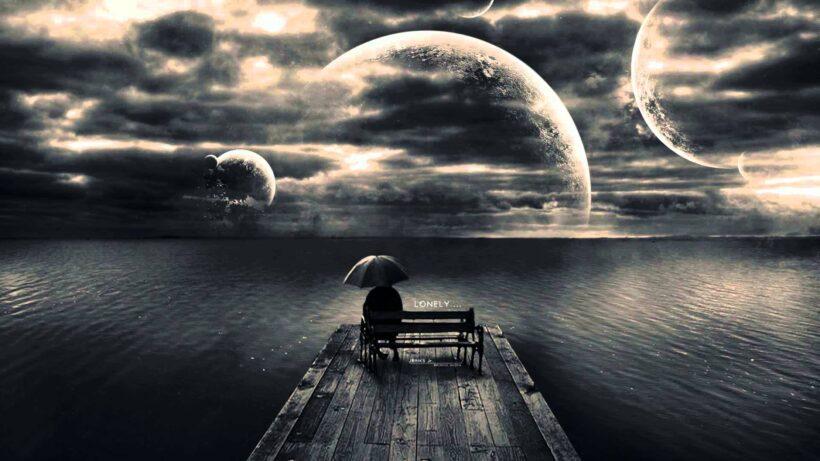background buồn giữa dòng sống suy nghĩ