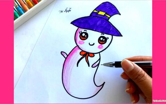Cách vẽ ma hoạt hình đơn giản nhất cho ngày Halloween