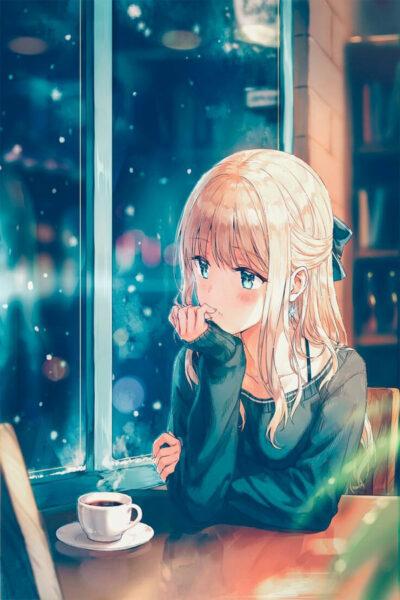 Hình ảnh cô gái buồn đầy tâm trạng