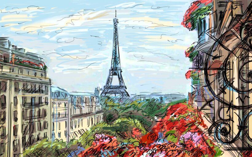 Hình vẽ tháp Eiffel