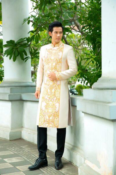 áo dài cách tân cho nam họa tiết truyền thống