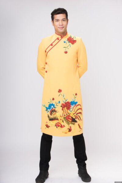 áo dài cách tân cho nam màu vàng
