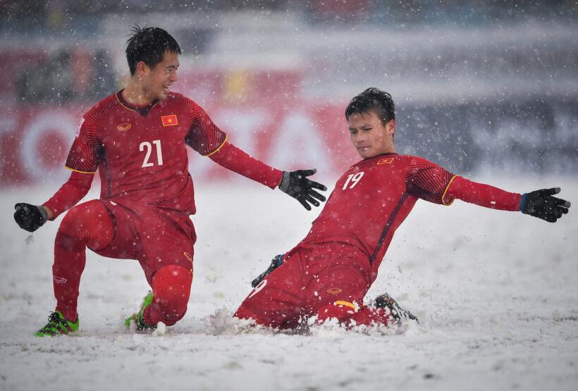 Hình ảnh Quang Hải ăn mừng