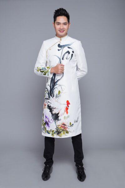những mẫu áo dài cách tân nam giới họa tiết tinh tế