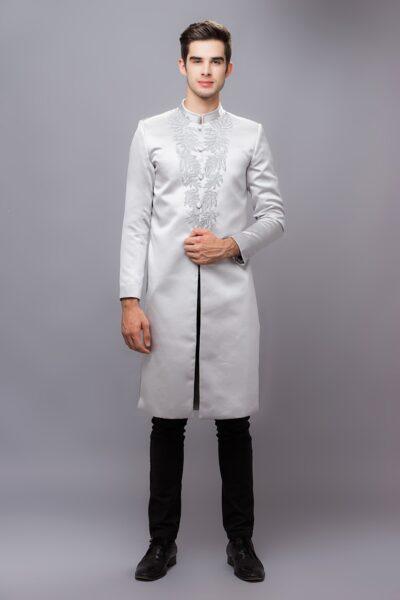 những mẫu áo dài cách tân nam giới màu xám