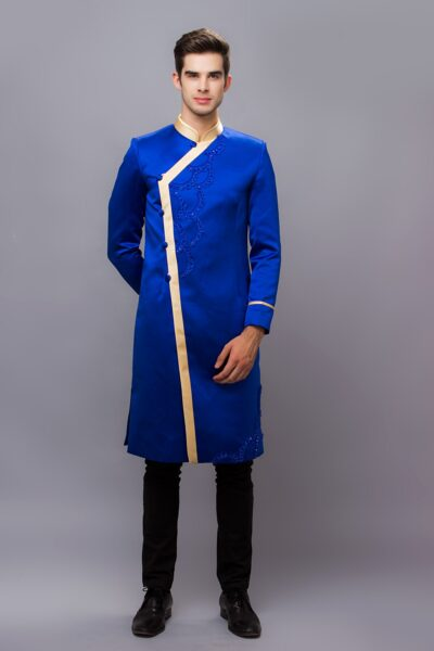 những mẫu áo dài cho nam giới màu xanh